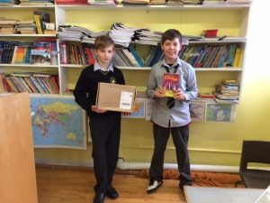 Noah and Kuba with their box of Butlers' chocolates