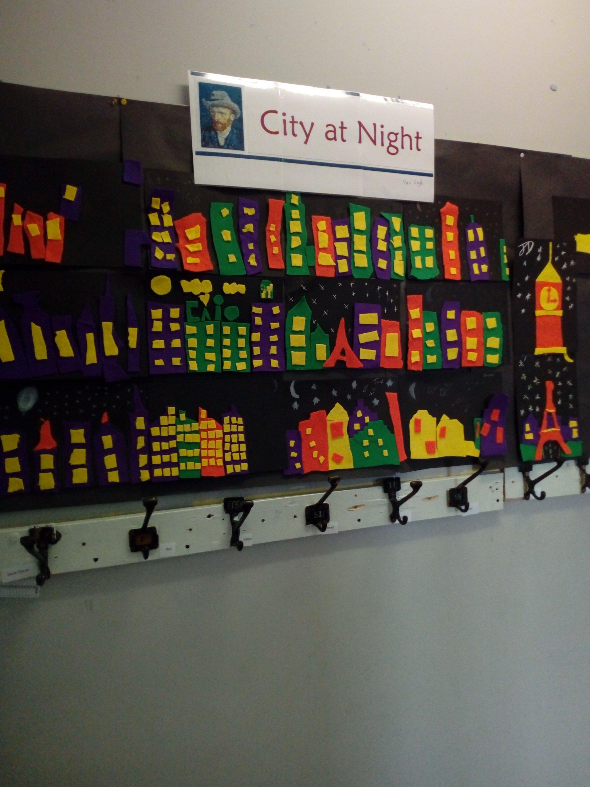 """Van Gogh """"City at Night"""" art by 6th class"""